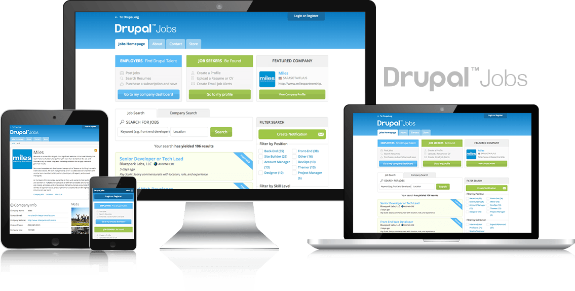 Screenshots of Drupal Jobs Website