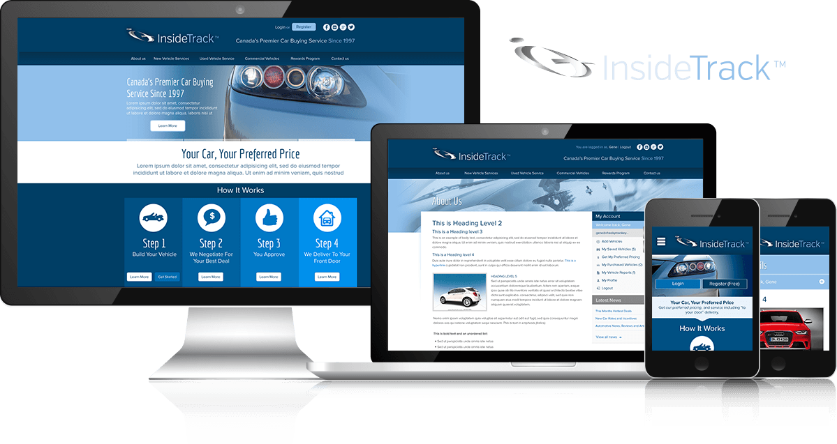 Screenshots of the Website Design