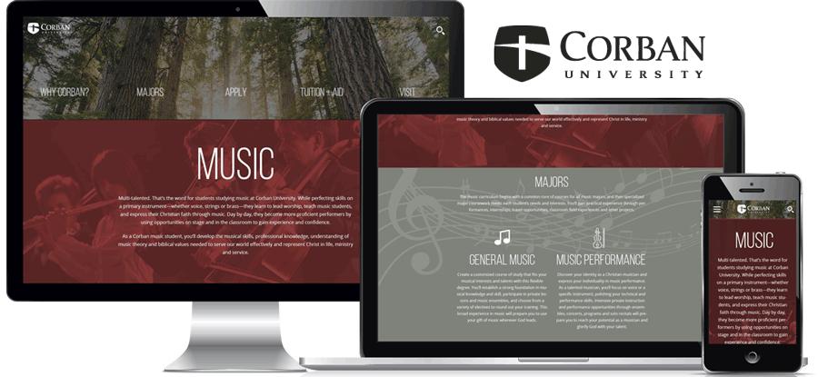 Corban Music Landing Page
