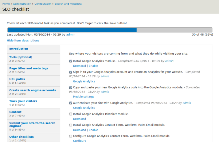 SEO Checklist screenshot