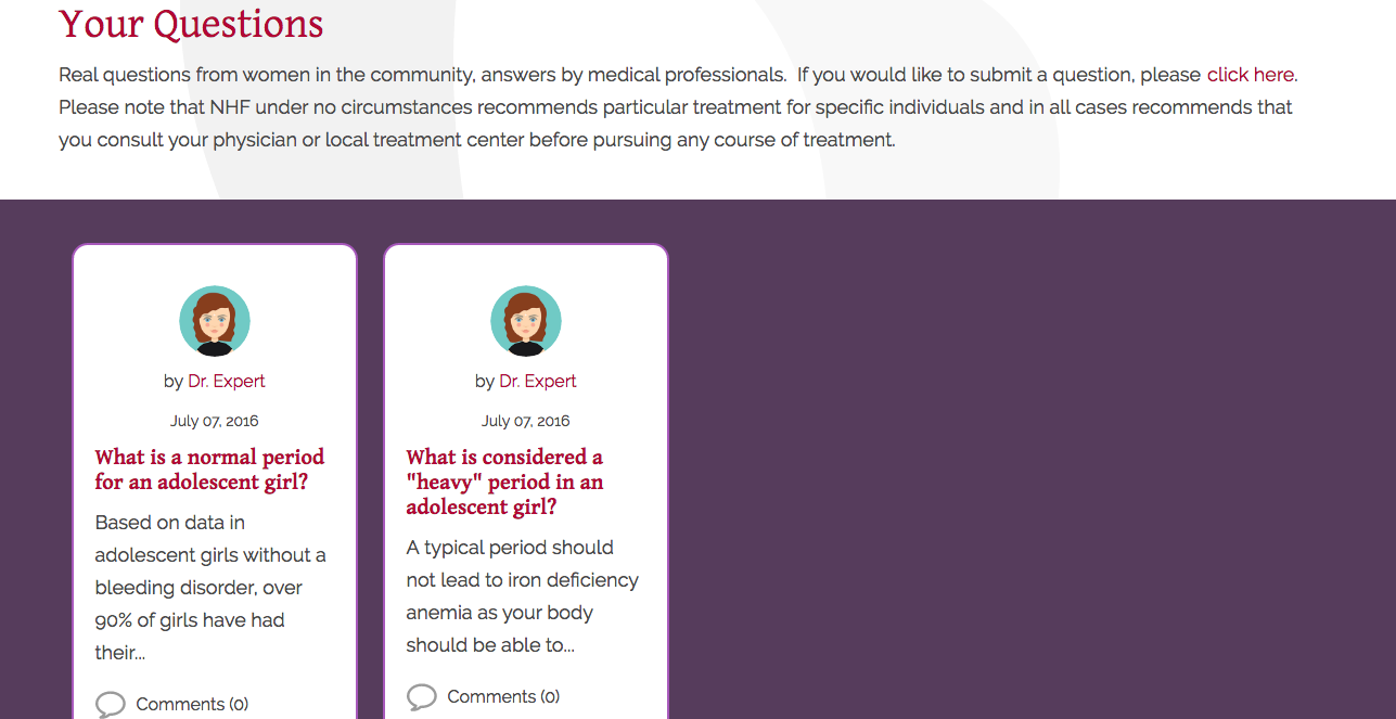 Victory for Women website screenshot of question section