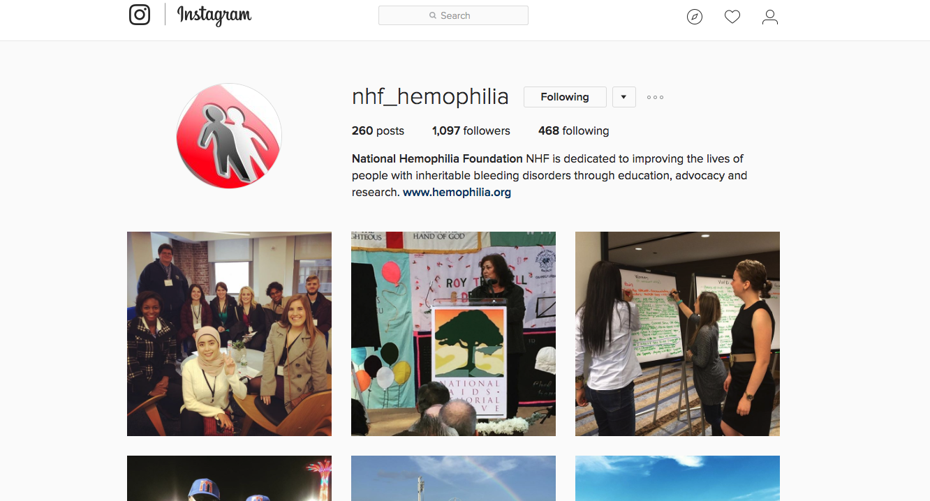 The NHF's Instagram page