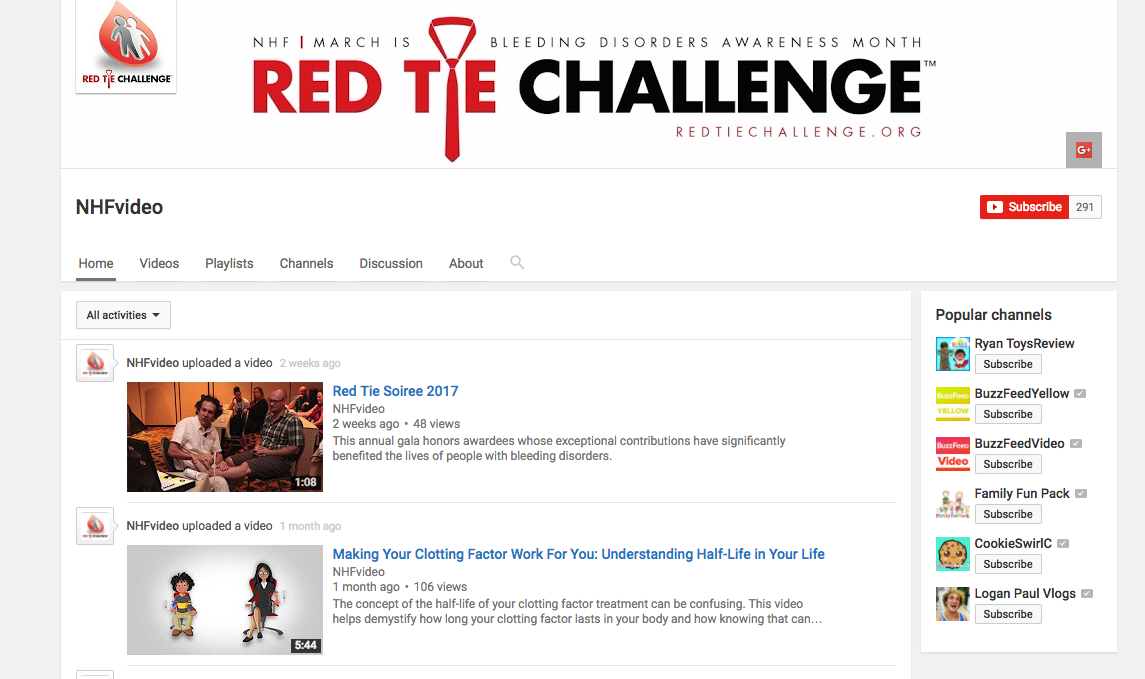 The NHF's youtube channel